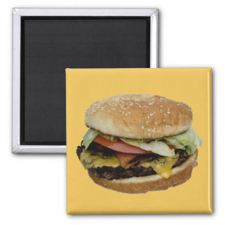 Delicious Cheeseburger 2 Inch Square Magnet