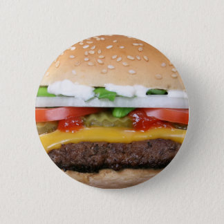 delicious cheeseburger with pickles photograph button