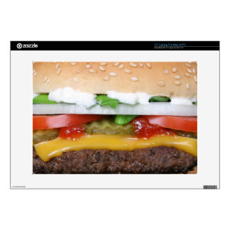 delicious cheeseburger with pickles photograph laptop decal