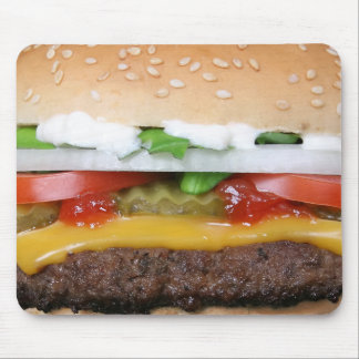 delicious cheeseburger with pickles photograph mouse pad