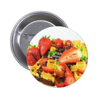 Delicious chocolate and strawberries waffle pinback button