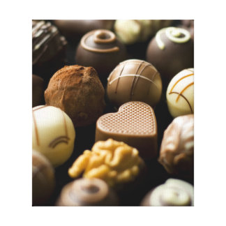 Delicious chocolate pralines stretched canvas prints