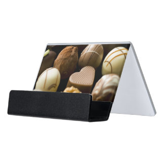 Delicious chocolate pralines desk business card holder