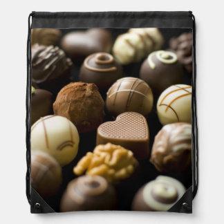 Delicious chocolate pralines drawstring bag