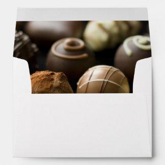 Delicious chocolate pralines envelopes
