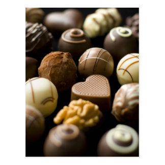 Delicious chocolate pralines postcard