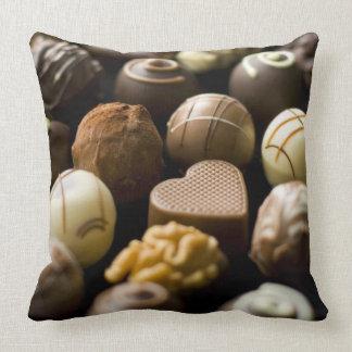 Delicious chocolate pralines throw pillows