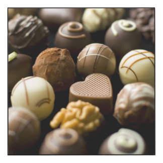 Delicious chocolate pralines wood wall art