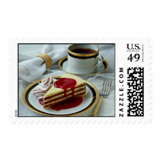 Delicious Coffee and baumkuchen torte Postage Stamp