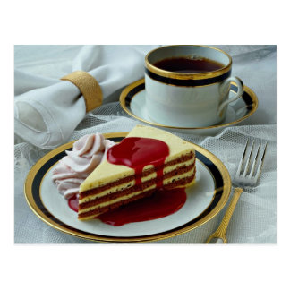 Delicious Coffee and baumkuchen torte Post Card