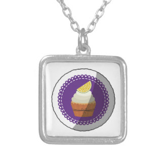 Delicious cup cake silver plated necklace