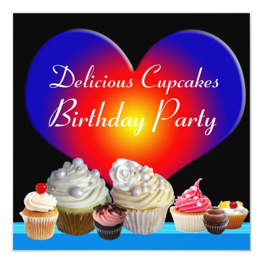 DELICIOUS CUPCAKES BIRTHDAY PARTY blue red heart Card