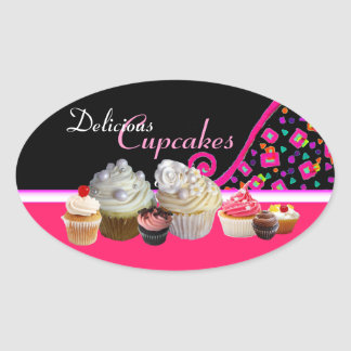 DELICIOUS CUPCAKES BIRTHDAY PARTY Pink Dots Oval Sticker