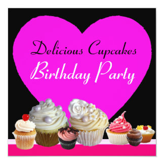 DELICIOUS CUPCAKES BIRTHDAY PARTY pink heart black Card