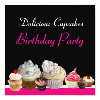 DELICIOUS CUPCAKES BIRTHDAY PARTY pink red black Card