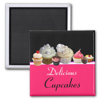 DELICIOUS CUPCAKES BIRTHDAY PARTY ,red pink black 2 Inch Square Magnet