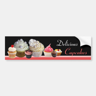 DELICIOUS CUPCAKES BIRTHDAY PARTY ,red pink black Bumper Sticker
