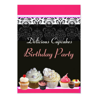 DELICIOUS CUPCAKES BIRTHDAY PARTY ,red pink black Personalized Invite