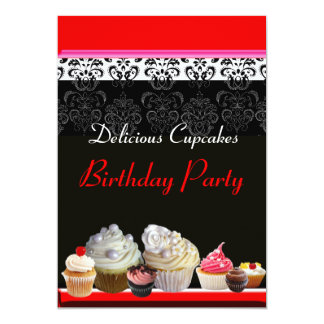 DELICIOUS CUPCAKES BIRTHDAY PARTY ,red pink black Invitation