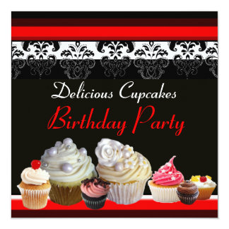 DELICIOUS CUPCAKES BIRTHDAY PARTY ,red pink black Custom Announcement