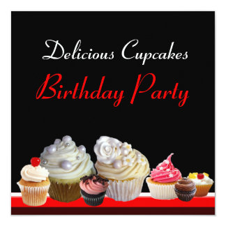 DELICIOUS CUPCAKES BIRTHDAY PARTY ,red pink black Custom Invites