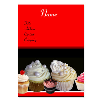 DELICIOUS CUPCAKES DESERT SHOP black red Business Card Template