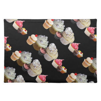 DELICIOUS CUPCAKES DESERT SHOP, Pink Black Fuchsia Cloth Placemat
