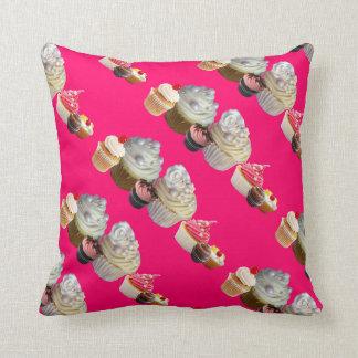 DELICIOUS CUPCAKES DESERT SHOP, Pink Black Fuchsia Throw Pillow