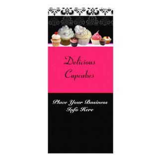 DELICIOUS CUPCAKES DESERT SHOP, Pink Fuchsia Black Rack Card