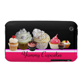 DELICIOUS CUPCAKES DESERT SHOP, Pink,Fuchsia White iPhone 3 Case-Mate Cases