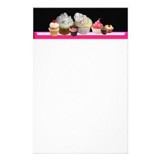 DELICIOUS CUPCAKES DESERT SHOP, Pink,Fuchsia White Stationery Design