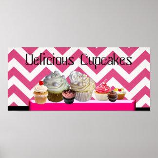 DELICIOUS CUPCAKES DESERT SHOP/ PINK WHITE CHEVRON POSTER