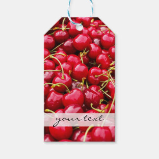 delicious cute red cherry fruits photograph gift tags
