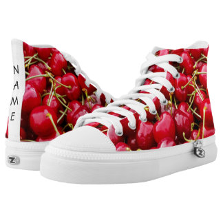 delicious cute red cherry fruits photograph High-Top sneakers