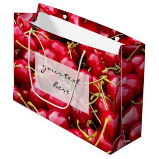 delicious cute red cherry fruits photograph large gift bag