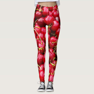 delicious cute red cherry fruits photograph leggings