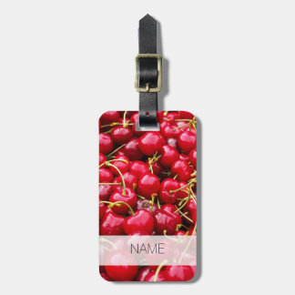 delicious cute red cherry fruits photograph luggage tag