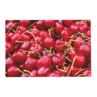 cute red cherry fruits photograph placemat