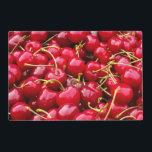 "delicious cute red cherry fruits photograph placemat<br><div class=""desc"">Image of red cherries.</div>"
