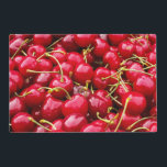 """delicious cute red cherry fruits photograph placemat<br><div class=""""desc"""">Image of red cherries.</div>"""