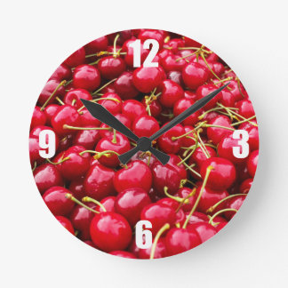 delicious cute red cherry fruits photograph round clock