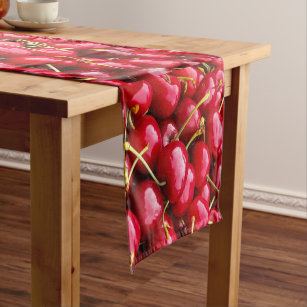 delicious cute red cherry fruits photograph short table runner