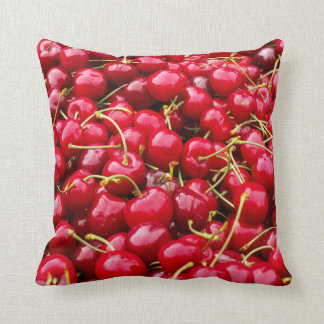 delicious cute red cherry fruits photograph throw pillow