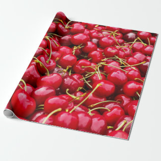 delicious cute red cherry fruits photograph wrapping paper