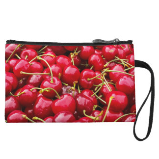 delicious cute red cherry fruits photograph wristlet wallet