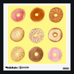 """Delicious Donuts Illustration Wall Decal<br><div class=""""desc"""">This wall decal shows an illustration of nine delicious donuts in a variety of flavors. A cute decal to decorate the walls of your home,  bedroom,  kitchen,  baking or donut shop. Attractive square format.</div>"""
