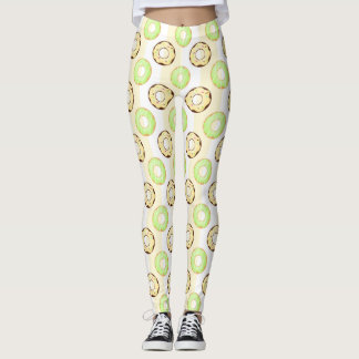 Delicious Donuts Yellow Stripes Pattern Leggings