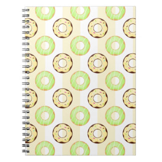Delicious Donuts Yellow Stripes Pattern Notebook