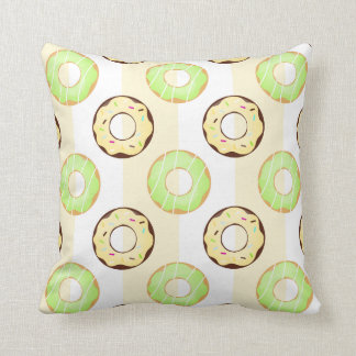 Delicious Donuts Yellow Stripes Pattern Pillow