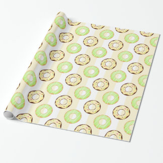 Delicious Donuts Yellow Stripes Wrapping Paper